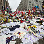 A memorial in the aftermath of the Boston Marathon bombings